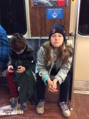 Boston Subway... Jake dropped his new hat... it was gone in a flash. :(
